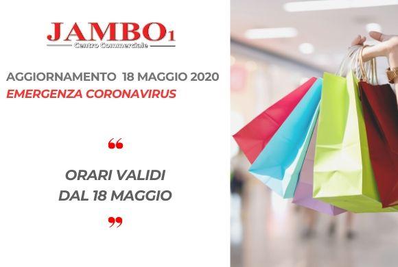 AGGIORNAMENTO ORARI DI APERTURA DAL 18 MAGGIO 2020
