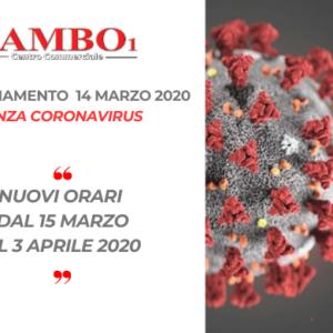 Emergenza CORONAVIRUS – 14 MARZO 2020 – NUOVI ORARI FINO AL 3 APRILE 2020